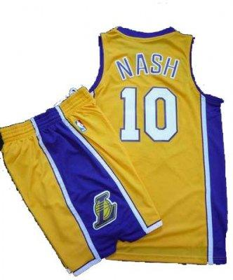 Los Angeles Lakers 10 Steve Nash Yellow Revolution 30 Swingman NBA Jersey & Shorts Suit