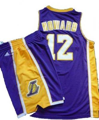 Los Angeles Lakers 12# Dwight Howard Purple Revolution 30 Swingman NBA Jersey & Shorts Suit