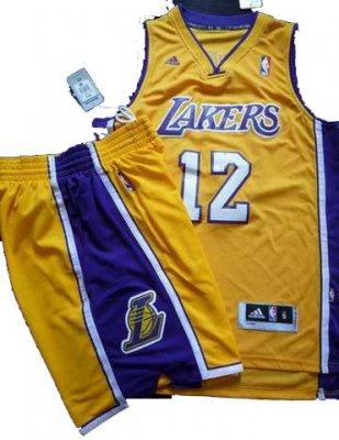 Los Angeles Lakers 12# Dwight Howard Yellow Revolution 30 Swingman NBA Jersey & Shorts Suit