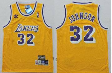 Los Angeles Lakers 32 Magic Johnson Yellow throwback NBA Jerseys