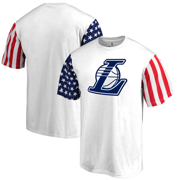 Los Angeles Lakers Fanatics Branded Stars & Stripes T-Shirt White