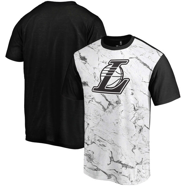Los Angeles Lakers Marble Sublimated T Shirt White Black