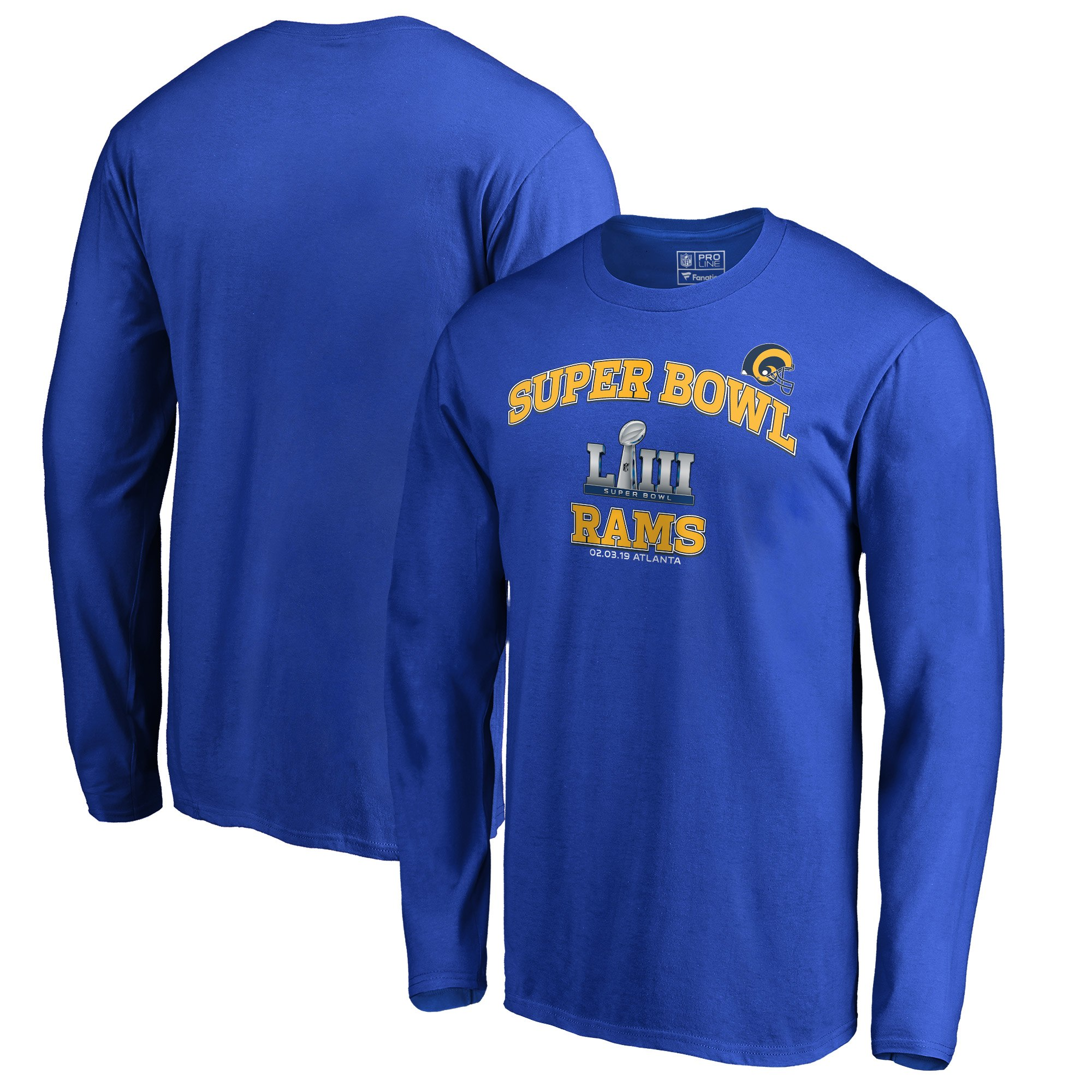 Los Angeles Rams NFL Pro Line By Fanatics Branded Super Bowl LIII Bound Heart & Soul Long Sleeve T-Shirt Royal