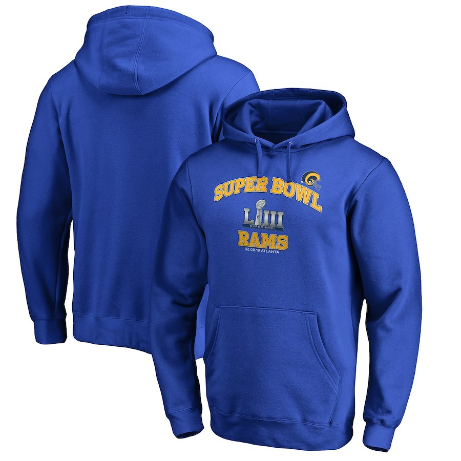 Los Angeles Rams NFL Pro Line By Fanatics Branded Super Bowl LIII Bound Heart & Soul Pullover Hoodie Royal