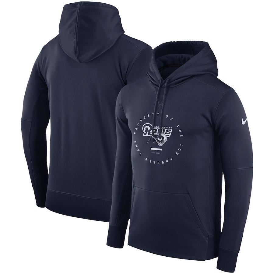 Los Angeles Rams Nike Sideline Property Of Wordmark Logo Performance Pullover Hoodie Navy