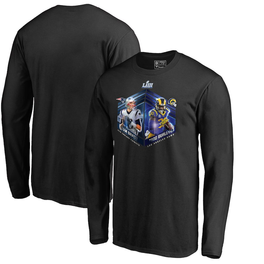 Los Angeles Rams Vs. New England Patriots NFL Pro Line By Fanatics Branded Super Bowl LIII Dueling Player Matchup Audible Long Sleeve T-Shirt Black
