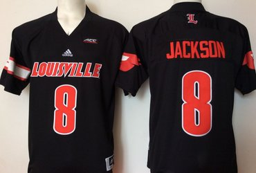 Louisville Cardinals 8 Lamar Jackson Black College Football Jersey