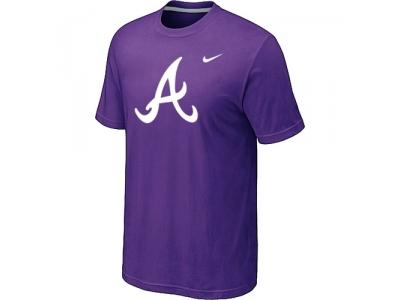 MLB Atlanta Braves Heathered NEW Purple Blended T-Shirt
