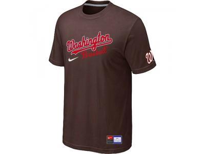 MLB Washington Nationals Brown NEW Short Sleeve Practice T-Shirt