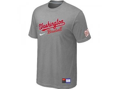 MLB Washington Nationals L.Grey NEW Short Sleeve Practice T-Shirt