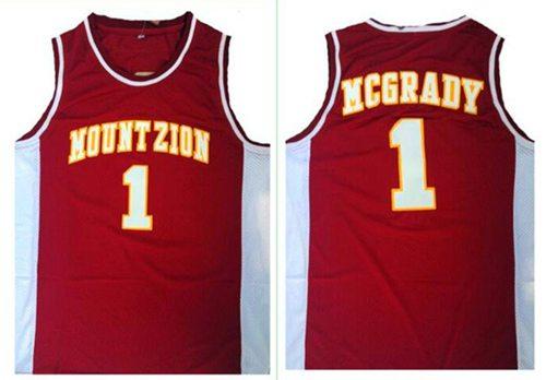 Magic #1 Tracy Mcgrady Red Mount Zion Christian Academy High School Stitched NBA Jersey