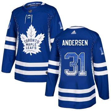 Maple Leafs 31 Frederik Andersen Blue Drift Fashion Adidas Jersey