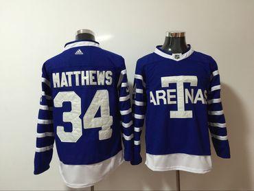 Maple Leafs 34 Auston Matthews Blue 1918 Arenas Throwback Adidas Jersey