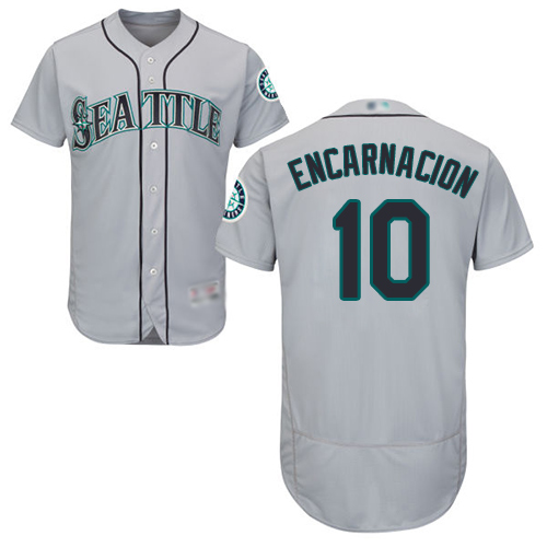Mariners #10 Edwin Encarnacion Grey Flexbase Authentic Collection Stitched Baseball Jersey