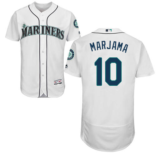 Mariners #10 Mike Marjama White Flexbase Authentic Collection Stitched Baseball