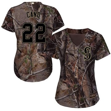 Mariners #22 Robinson Cano Camo Realtree Collection Cool Base Women's Stitched Baseball Jersey