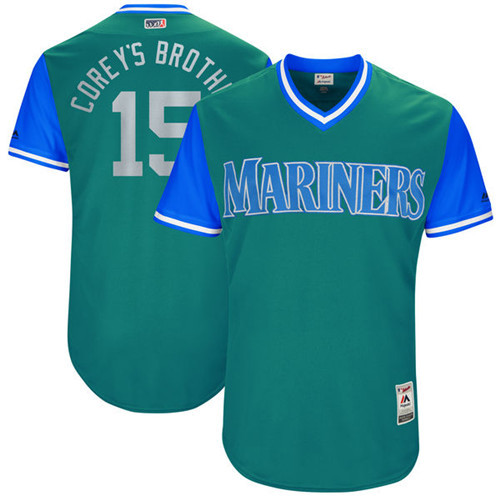 Mariners 15 Kyle Seager Corey's Brother Majestic Aqua 2017 Players Weekend Jersey