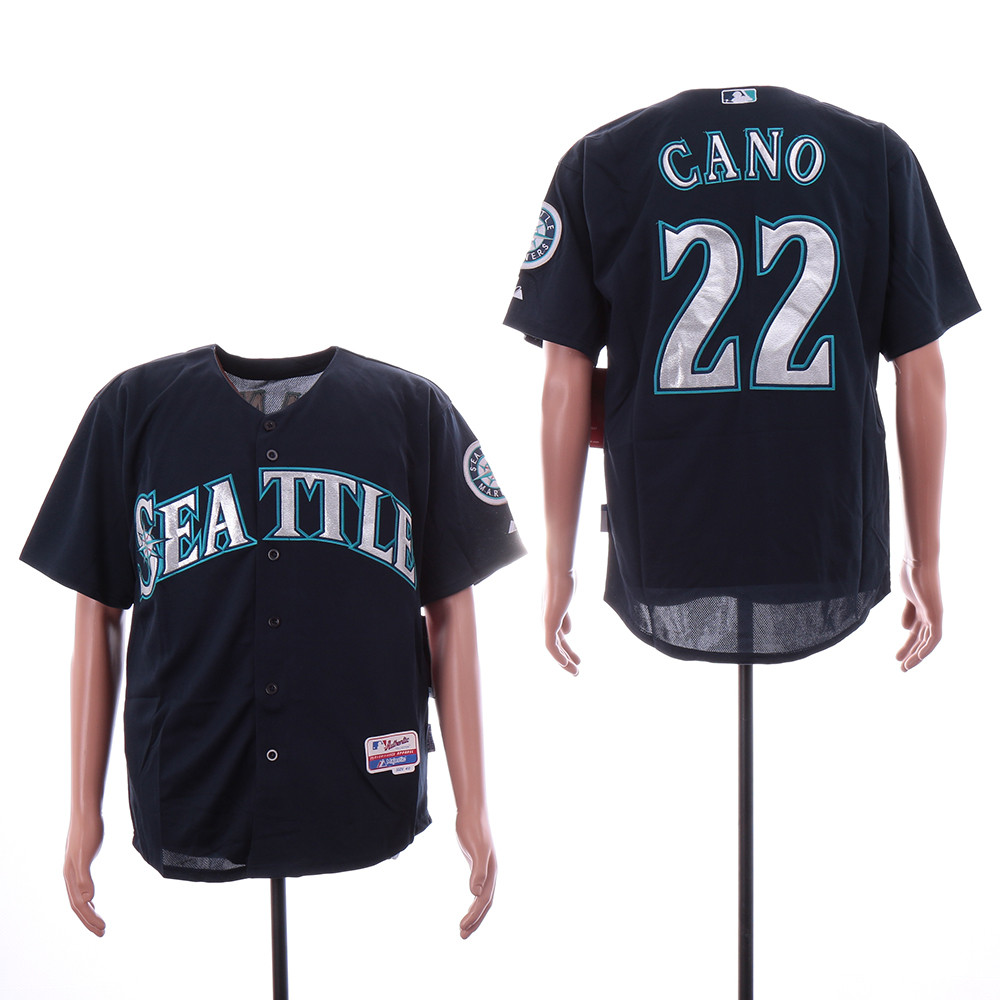 Mariners 22 Robinson Cano Navy Cool Base Jersey