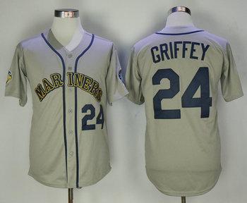 Mariners 24 Ken Griffey Jr. Gray Throwback Jersey