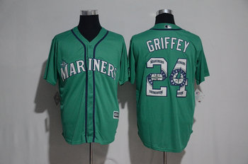Mariners 24 Ken Griffey Jr. Green Team Logo Print Cool Base Jersey
