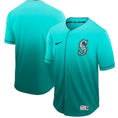 Mariners Blank Green Fade Authentic Stitched Baseball Jersey