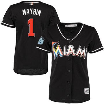 Marlins #1 Cameron Maybin Black Alternate Women's Stitched Baseball Jersey