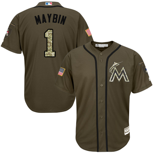 Marlins #1 Cameron Maybin Green Salute to Service Stitched Youth Baseball Jersey