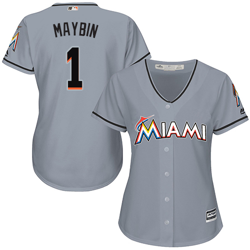 Marlins #1 Cameron Maybin Grey Road Women's Stitched Baseball Jersey