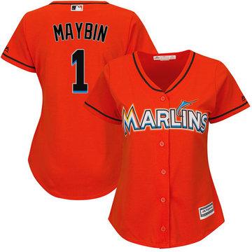 Marlins #1 Cameron Maybin Orange Alternate Women's Stitched Baseball Jersey