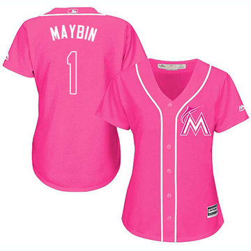 Marlins #1 Cameron Maybin Pink Fashion Women's Stitched Baseball Jersey