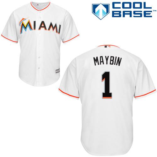 Marlins #1 Cameron Maybin White Cool Base Stitched Youth Baseball Jersey