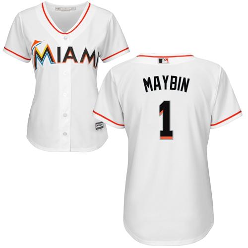 Marlins #1 Cameron Maybin White Home Women's Stitched Baseball Jersey