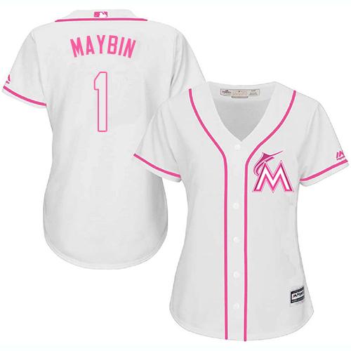 Marlins #1 Cameron Maybin White Pink Fashion Women's Stitched Baseball Jersey