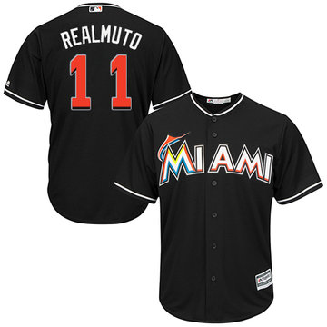 Marlins #11 JT Realmuto Black Cool Base Stitched Youth Baseball Jersey