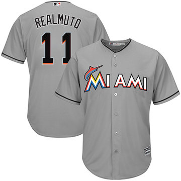 Marlins #11 JT Realmuto Grey Cool Base Stitched Youth Baseball Jersey