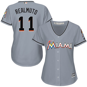Marlins #11 JT Realmuto Grey Road Women's Stitched Baseball Jersey