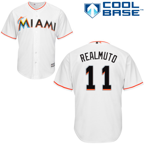 Marlins #11 JT Realmuto White Cool Base Stitched Youth Baseball Jersey