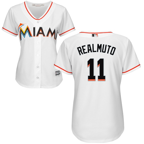 Marlins #11 JT Realmuto White Home Women's Stitched Baseball Jersey