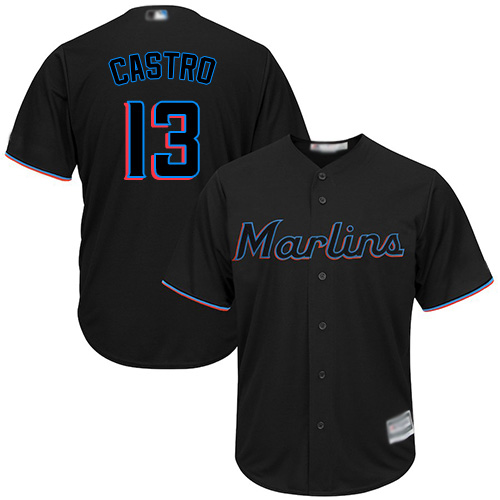 Marlins #13 Starlin Castro Black Cool Base Stitched Youth Baseball Jersey