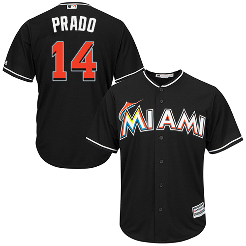 Marlins #14 Martin Prado Black Cool Base Stitched Youth MLB Jersey