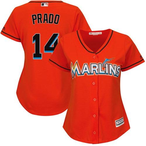Marlins #14 Martin Prado Orange Alternate Women's Stitched MLB Jersey