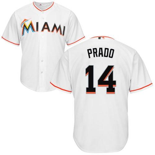 Marlins #14 Martin Prado White Cool Base Stitched Youth MLB Jersey