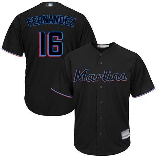 Marlins #16 Jose Fernandez Black Cool Base Stitched Youth Baseball Jersey