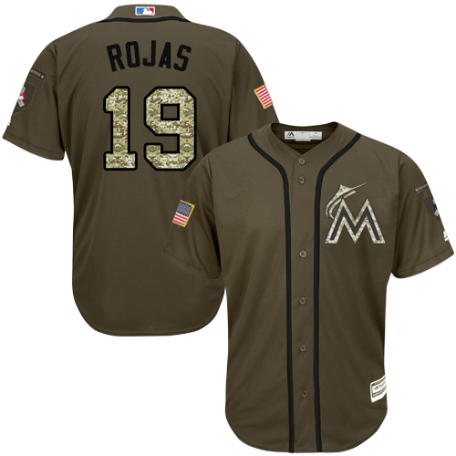 Marlins #19 Miguel Rojas Green Salute to Service Stitched Youth Baseball Jersey