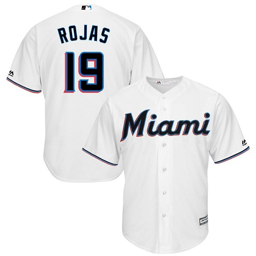 Marlins #19 Miguel Rojas White Cool Base Stitched Youth Baseball Jersey