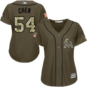 Marlins #54 Wei-Yin Chen Green Salute to Service Women's Stitched MLB Jersey