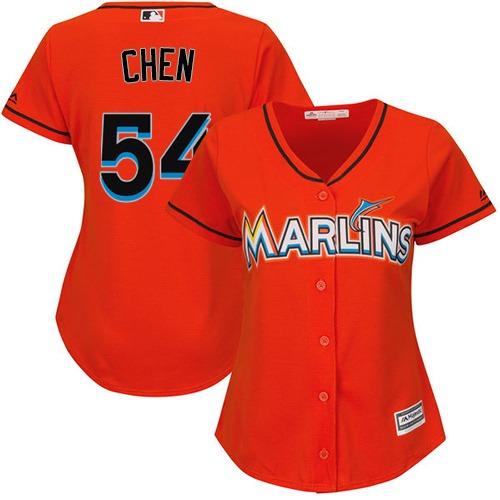 Marlins #54 Wei-Yin Chen Orange Alternate Women's Stitched MLB Jersey