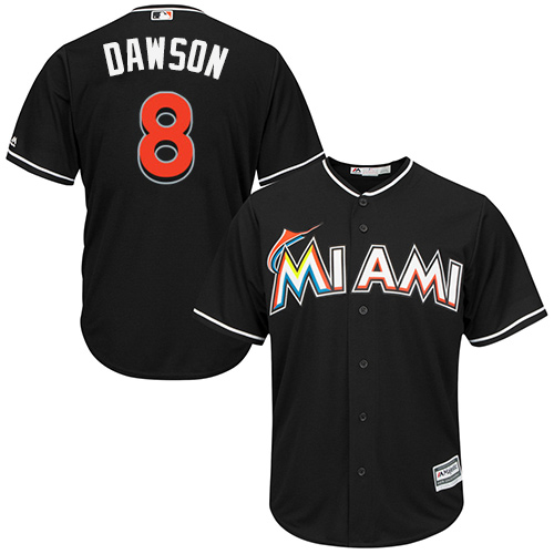 Marlins #8 Andre Dawson Black Cool Base Stitched Youth MLB Jersey