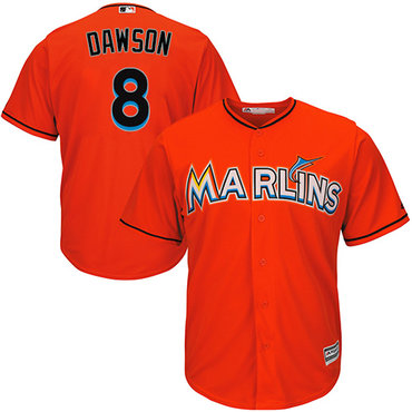 Marlins #8 Andre Dawson Orange Cool Base Stitched Youth MLB Jersey