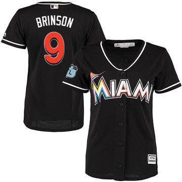 Marlins #9 Lewis Brinson Black Alternate Women's Stitched Baseball Jersey